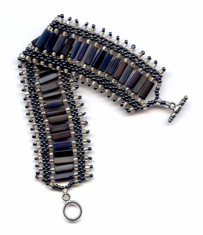 Grey AB Chicklet Bracelet