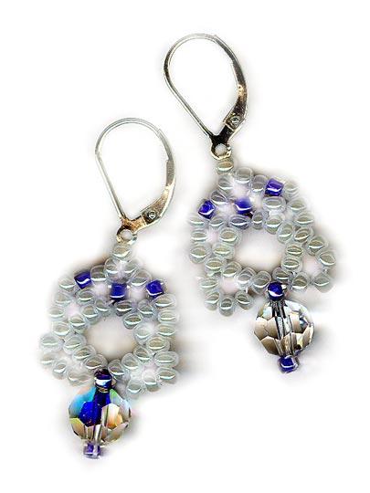 Periwinkle Pearl Netted Diamond Earrings