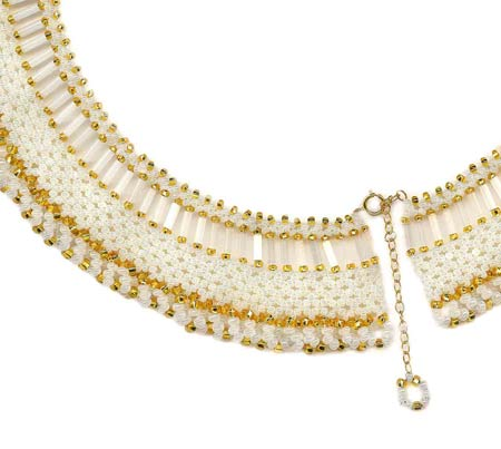 Pearl net with gold loops (white/gold)