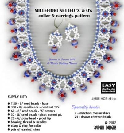 Millefiori Netted X's & O' & Diamond Earrings