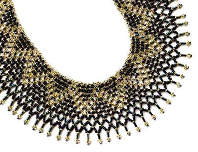 Netted ZigZag Wide Black Gold