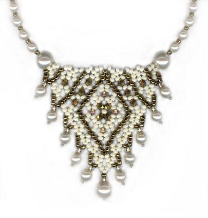 Pearl Drop Crystal 'V' Necklace: Interlocked Band & Strung Pearls – 2 patterns -Strung Pearls