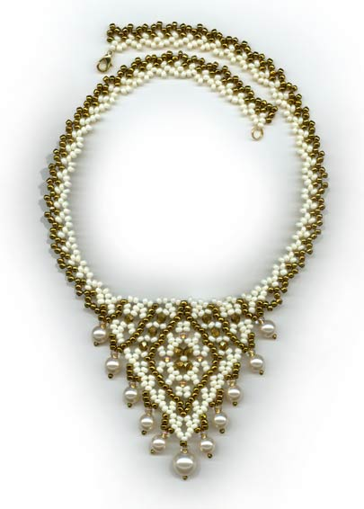 Pearl Drop Crystal 'V' Necklace: Interlocked Band & Strung Pearls – 2 patterns - Interlocking Band