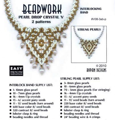 Pearl Drop Crystal 'V' Necklace: Interlocked Band & Strung Pearls – 2 patterns